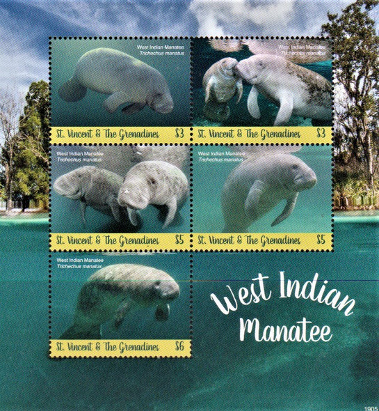 St. Vincent  (2020)-Manatees Sheet of 5v & Souvenir Sheet