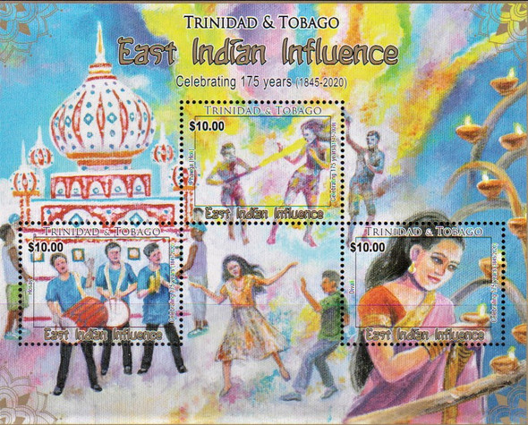 TRINIDAD (2020)-Indian Influence Sheet of 3v- Music & Dance
