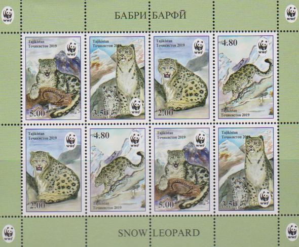 TADZIKISTAN (2019)- WWF Snow Leopard Sheet of 8v