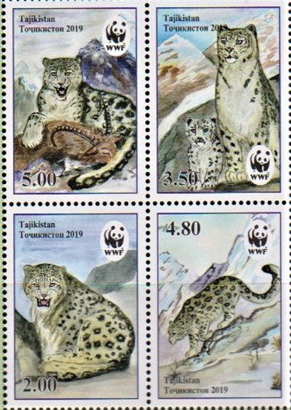 TADZIKISTAN (2019)- WWF Snow Leopard Block of 4v