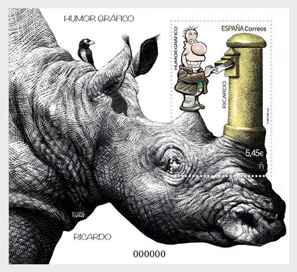SPAIN (2020)-Cartoon Sheet- Rhino, Bird & Mail Box