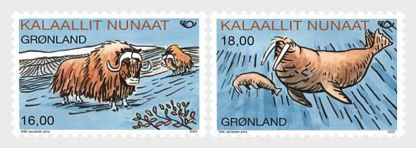 GREENLAND  (2020)-Mammals- Ox & Walrus (2v)