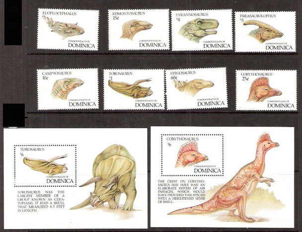 DOMINICA (1992)- DINOSAURS- 8 VALUES & 2 SHEETS