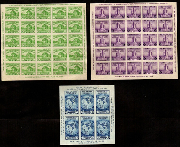 """US (1933)- 3 MINT """"FARLEY"""" IMPERFORATED SHEETS- #730,731, & 735 ALL MNH!"""