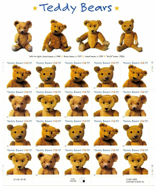 US (2002) Centenary of Teddy Bears Sheet of 20 - SC#3653-6 sold w/USPS Commeorative Panel