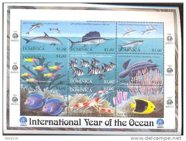 DOMINICA (1998)- YEAR OF THE OCEAN SHEET OF 9