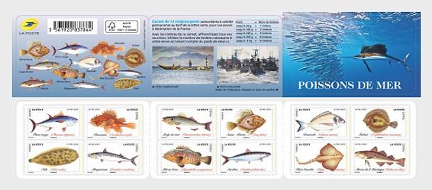 FRANCE (2019)- Sea Fish Booklet of 12v