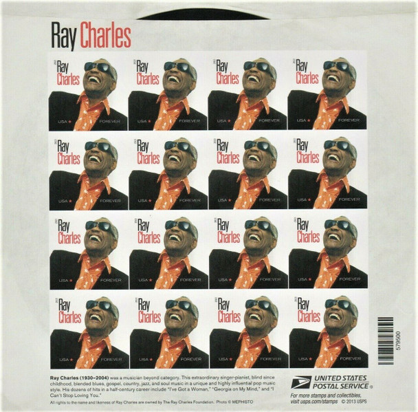US (2013) Ray Charles (singer) Sheet of 16- -#4807a