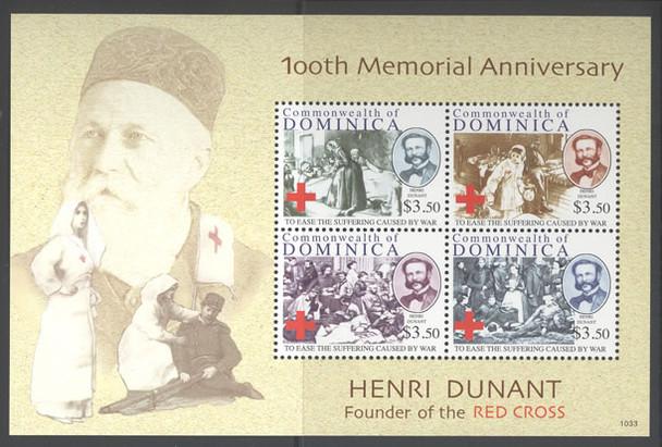 DOMINICA- H Dunant Red Cross 100th Memorial Anniv- Sheet of 4