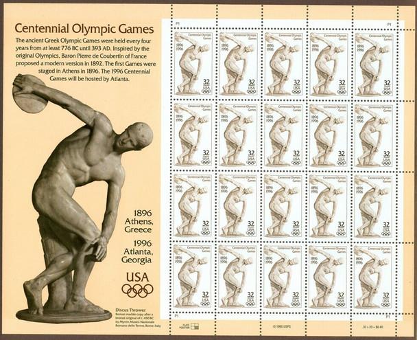 US (1996)- Atlanta Olympics Sheet of 20- 32c