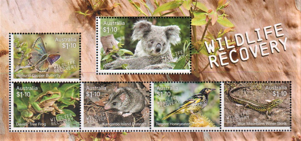 AUSTRALIA (2020)- Wildlife Recovery Sheet of 5- Koala, Frog,Butterfly,Honeyeater,Skink