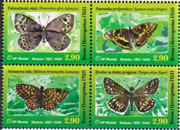 BOSNIA/CROAT (2020)- Butterflies (block of 4v)
