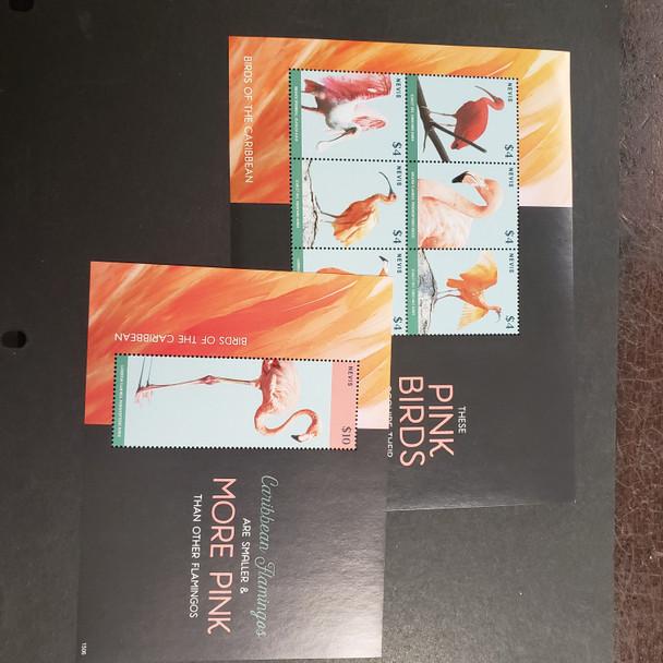 NEVIS (2017) Pink Birds, Flamingos, Ibis Etc Sheet Set