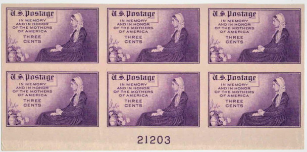 US (1934)- #734 Mothers of America- Imperf. Block of 6 w/Plate #