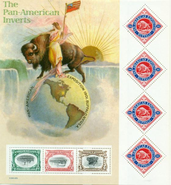 US (2001) --SCOTT # 3505 PAN AMERICAN INVERTS SHEET