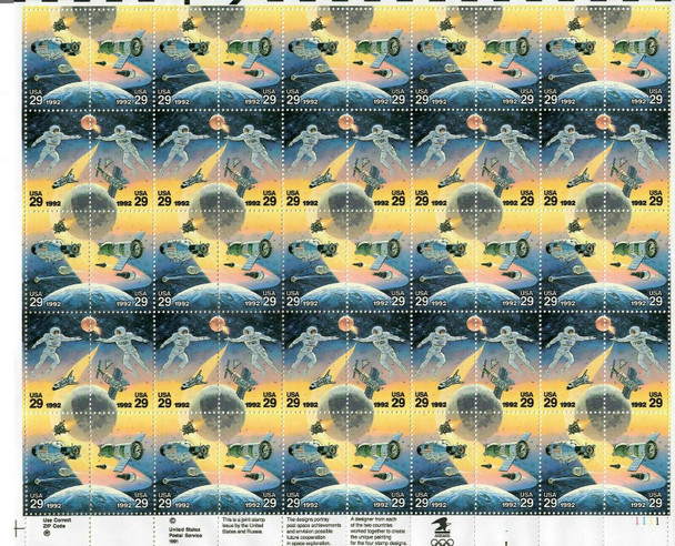 US (1992)- JOINT ISSUE W/RUSSIA SPACE ACHIEVEMENTS MINT SHEET OF 50v- #2631-4