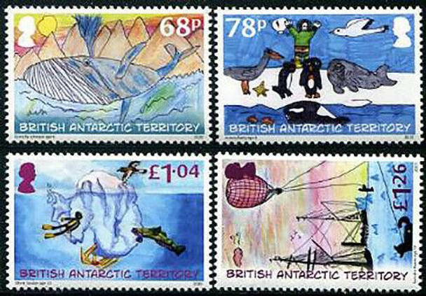 BR. ANTARCTIC TERRITORY (2020)- Child Art (4v)- whale, penguins, etc.