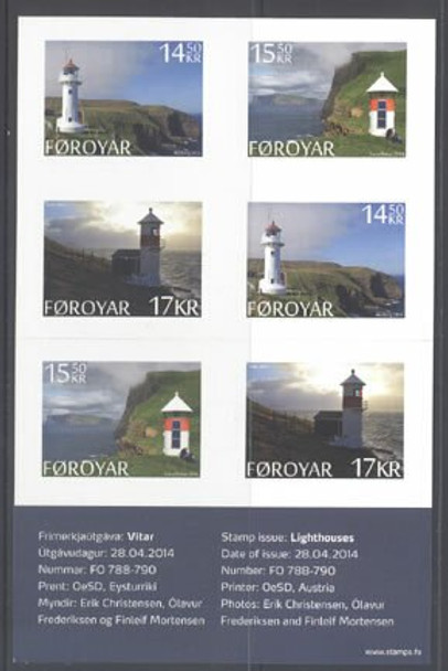 FAROE ISLANDS: Lighthouse Booklet 2014 - 6 self-adhesive stamps