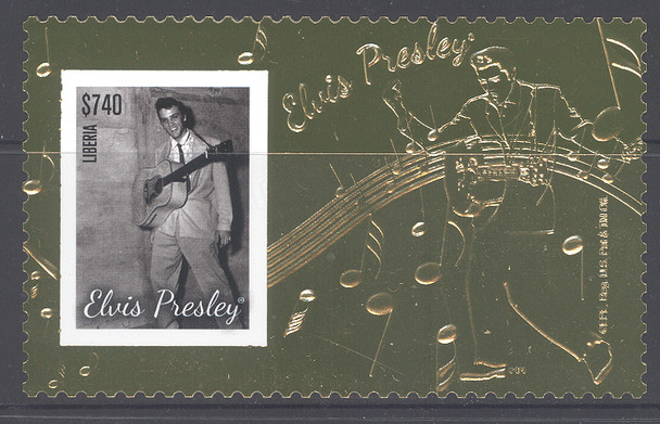 LIBERIA (2014)- Elvis Gold Foil Stamp Sheet w/Photograph! Unusual