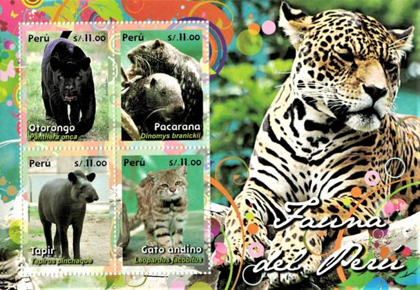 PERU (2014)  Fauna Sheet of 4v (Mammals)