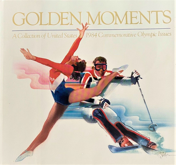 """""""Golden Moments""""- USPS 1984 Collection of Olympic Issues- Album w/stamps!"""