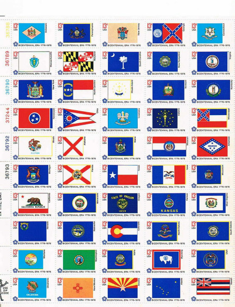 US (1976)- STATE FLAGS (50 VALUES) #1632-82 - 13c STAMPS+ 15 FLAG FIRST DAY COVERS!