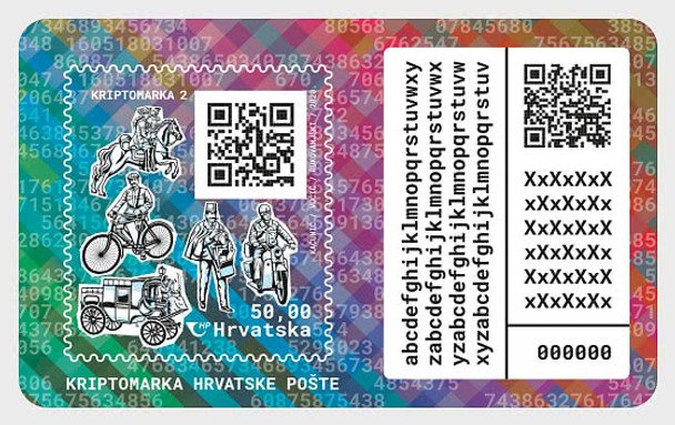 CROATIA (2021)- Cyrpto Currency Stamp- Featuring motocycles , & transportations