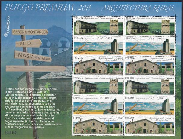 SPAIN (2015) :  Rural Architecture-Sheet of 12v w/large boarder design