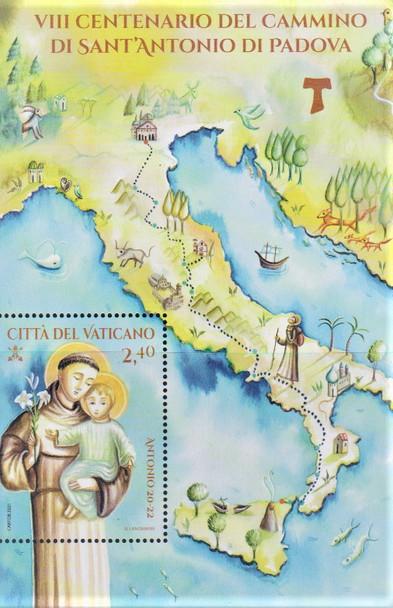 VATICAN ( 2021)-St. Anthony Souvenir Sheet w/Map