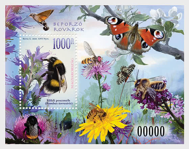 HUNGARY (2021)- Pollinating Insects Sheet