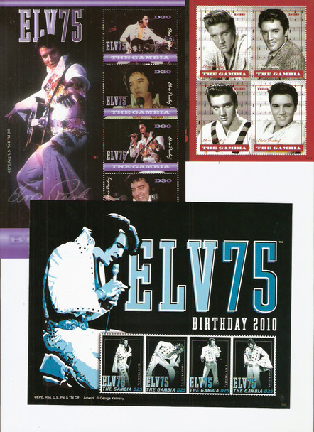 GAMBIA- Elvis 75th Birthday 2010- Sheets of 4 (3)