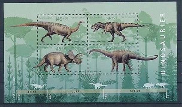 GERMANY (2008)- Dinosaurs Sheet of 8 values (semi-postals)