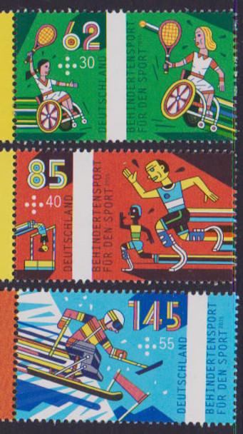 GERMANY (2015): Disabled Sports- semi-postals- tennis- running etc (3)