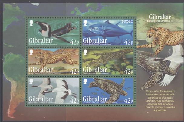 GIBRALTAR (2013) - Endangered Animals III- Sheet of 6- birds, cheetah, etc.