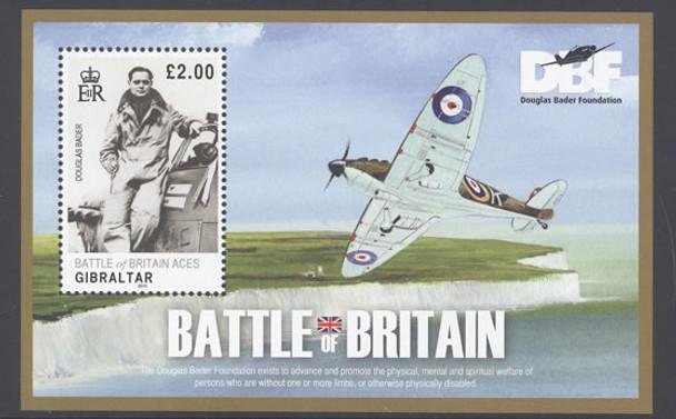 GIBRALTAR- Battle of Britain- souvenir sheet- Douglas Bader