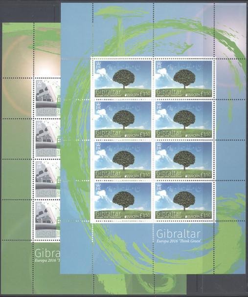 GIBRALTAR- Europa 2016 Think Green- mini-sheet of 8
