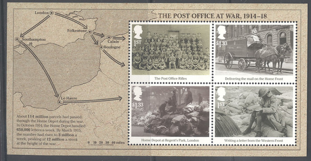 GREAT BRITAIN (2016)- WWI 1916 PO at War- Sheet of 4- map in border