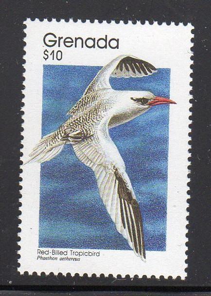 GRENADA (1989)- $10 VALUE BIRD DEFINITIVE- FRED-BILLED TROPICBIRD