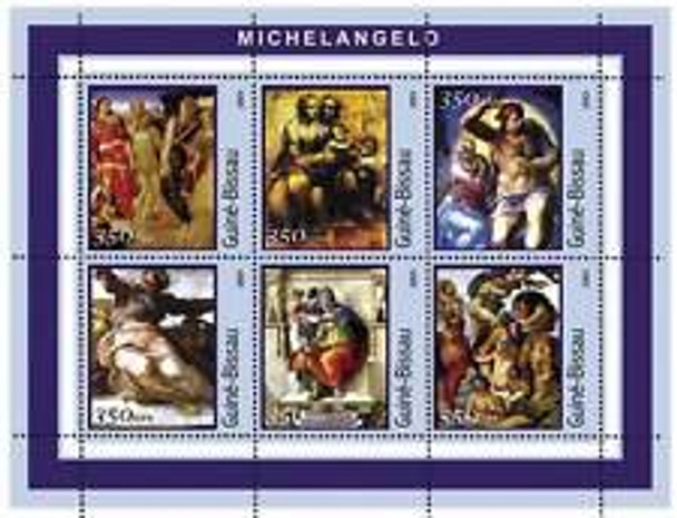 GUINEA (2001) ART Michelangelo Sheet (6v)