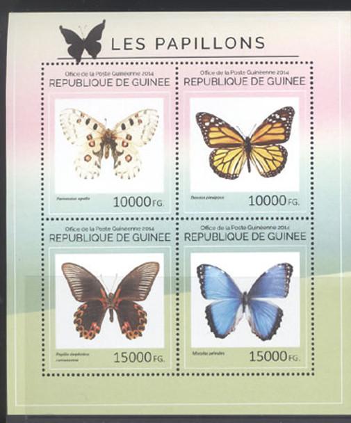 GUINEA: Butterflies 2014- Sheet of 4- Parnassius apollo etc