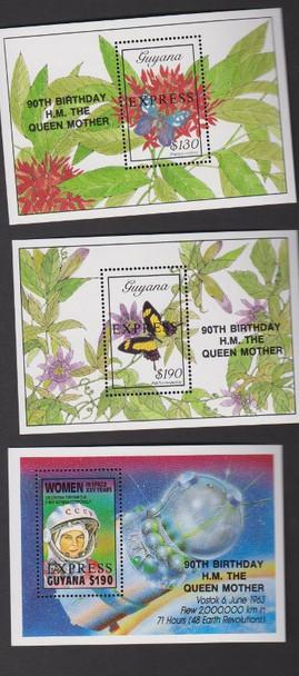 GUYANA( 1990) 90th Birthday Queen Overprint Set