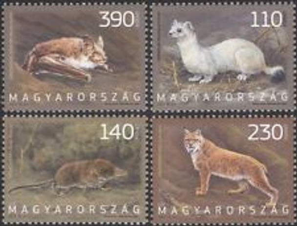HUNGARY (2014) Fauna Bat Shrew Lynx Stoat  (4v)