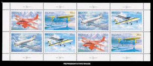 ICELAND (1993) Airplanes- Aviation Sheet of 8v