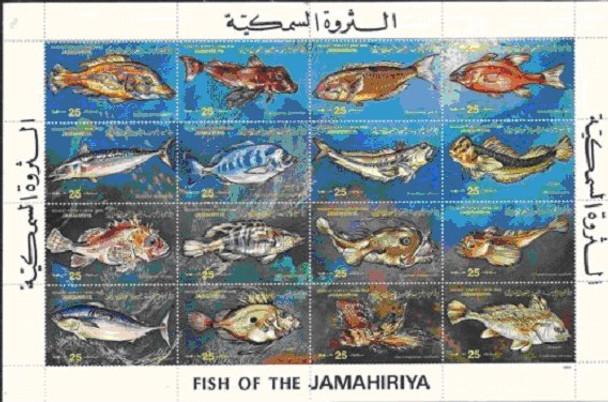 LIBYA (1983)- FISH SHEET OF 16