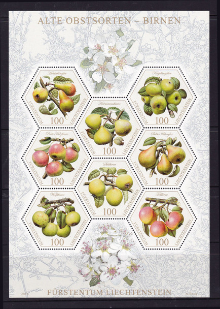 LIECHTENSTEIN (2017)- Pears- Sheet of 8- hexagon shapes