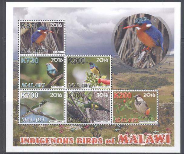MALAWI- Indigenous Birds- Sheet of 6
