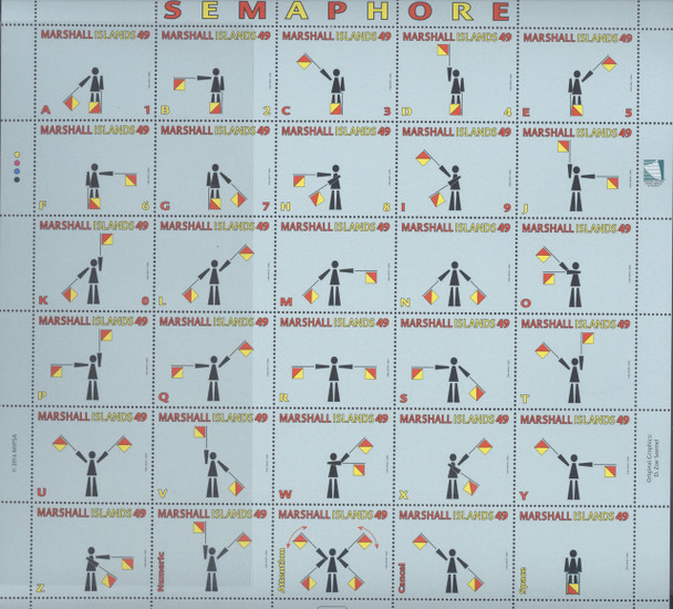 MARSHALL ISLANDS (2016)- Semaphore Signals- Sheet of 30