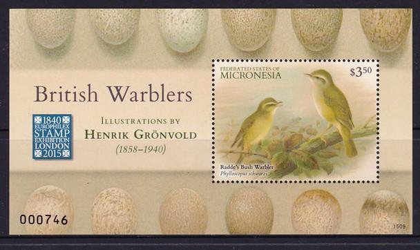 MICRONESIA(2015): London Exhibit British Warblers- souvenir sheet- illustration