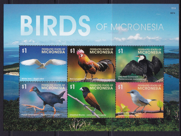 MICRONESIA: Birds 2015- Sheet of 6- tern- junglefowl- swamphen etc