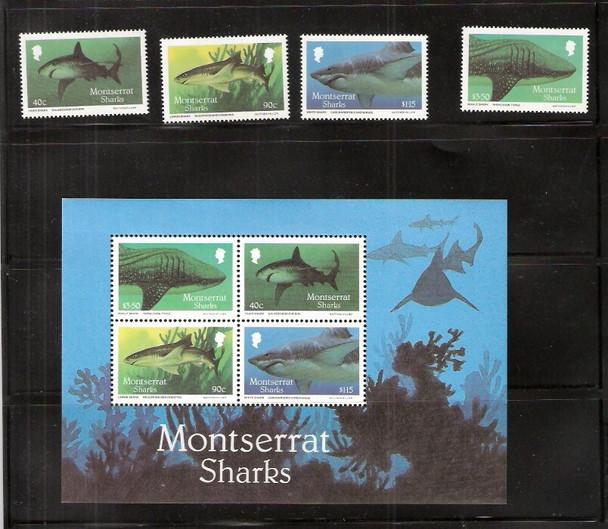 MONTSERRAT (1987)-SHARKS- 4v & SHEET